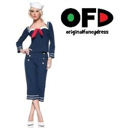 Sexy Shipmate Sailor Fancy Dress Costume Outfit Shirt Pants And Hat Navy Blue