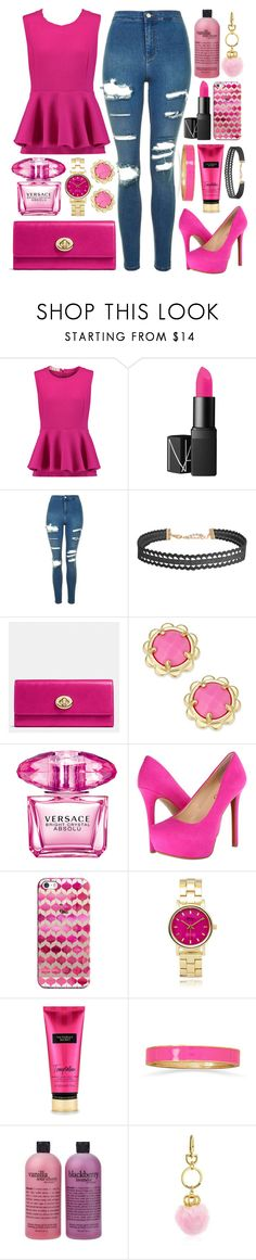 """""""#47O"""" by lost-in-a-daydr3am ❤ liked on Polyvore featuring Marni, NARS Cosmetics, Topshop, Humble Chic, Coach, Kate Spade, Versace, Jessica Simpson, Casetify and Geneva"""