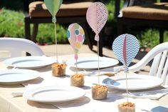 'Up, up & away! A little boy is on the way!' Hot air balloon baby shower party