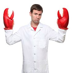 ThinkGeek :: Why Not Lobster Hands? WHY NOT, INDEED. Those big, meaty claws ain't for just attractin' mates--but they surely do a bang-up job of it!! Mr. William Lobster & Larry approve.