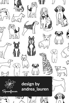 Dogs Illustration by Andrea Lauren - Hand drawn dog design in black and white on fabric, wallpaper, and gift wrap.  Adorable black and white dogs drawn by indie designer andrea_lauren on Spoonflower. #design #blackandwhite #dogs #fabric #wallpaper #create #draw #illustration