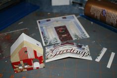 Christmas card Putz houses