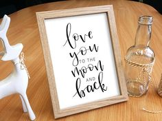 Love you to the moon and back // PRINTABLE DIGITAL DOWNLOAD