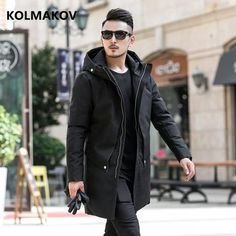 Kolmakov Brand Men Down Coat Winter Fashion Down Jacket High Quality Parka Men'S Casual Classic Business White Duck Down Jackets Mens Sneakers Fashion Outfits, Blazer Fashion, Fur Collar Jacket, Duck Down Jacket, White Ducks, Winter Outfits For Work, Down Coat, Winter Coat, Men Casual