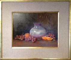 "Raku Pot with Grapes"" by Lu Haskew available through Columbine Gallery on Amazon Fine Art"
