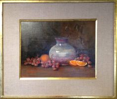 "Raku Pot with Grapes"" by Lu Haskew available through Columbine Gallery on Amazon Fine Art"