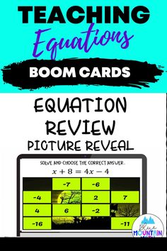 Are you looking for an interactive and self-correcting resource to practice solving equations with your students? This is a holiday themed review that students will enjoy while they are solving. There are 2 different pictures with 16 problems for each picture. Students start with the picture totally covered by the answer boxes. As they answer each question correctly, more and more of the covered picture is revealed. Equations include one step, two step, multi step.