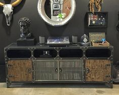 Modern Industrial Furniture by ModIndustrial on Etsy Modern Industrial Furniture, Retro Furniture, French Industrial, Industrial Style, The Doors, Bar Armoire, Console Vintage, Tv Stand Console, Diy Living Room Decor