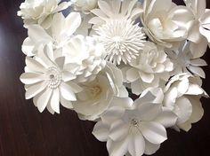 White Paper flowers set of 15 stems