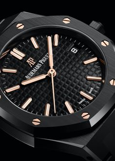 """*Blog Update - Read iN!* #AudemarsPiguet 34mm Royal Oak Black Ceramic⌚️ First-Ever Fully Ceramic Version of this Smaller """"Royal Oak"""" with Rose Gold Screws, Indexes & Central Hands…🎉"""
