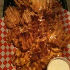 Bar food: Waffle Fries W/cheese & Bacon @ Hooligans