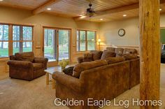 These homeowners finished off their basement with wainscoting in the Hybrid North Carolina. Photos and floor plans are at www.GoldenEagleLogHomes.com  #loghomeliving #construction #loghomes #loghome #logcabins #cabin #logcabins #home #homes #houzz #outdoors #nature #rusticliving