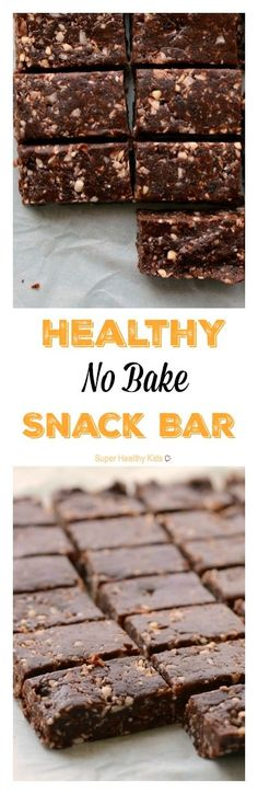 Healthy No Bake Snack Bar. Make these for your snack today (and then eat them for breakfast tomorrow too!) http://www.superhealthykids.com/healthy-no-bake-snack-bars/