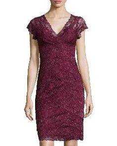 Marina Beaded Scalloped Tiered #Lace #Dress, Garnet