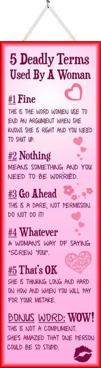 5 Deadly Terms Used By a Woman Funny Quote Sign in Pink[ SoberAssistance.com ]