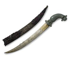 AN OTTOMAN JADE-HILTED DAGGER WITH SCABBARD, TURKEY, 18TH CENTURY