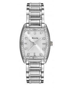 Bulova Women's Diamond Silver Stainless-Steel Quartz Watch with Mother-Of-Pearl… Bulova Watches, Quartz Watch, Stainless Steel, Pearls, Diamond, Silver, Beads, Diamonds, Gemstones