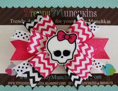 Monster High Pinwheel Hair Bow Bkack and Pink by TrendyMunchkins