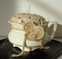 Handmade Pincushion Vintage Ironstone Creamer Repurposed