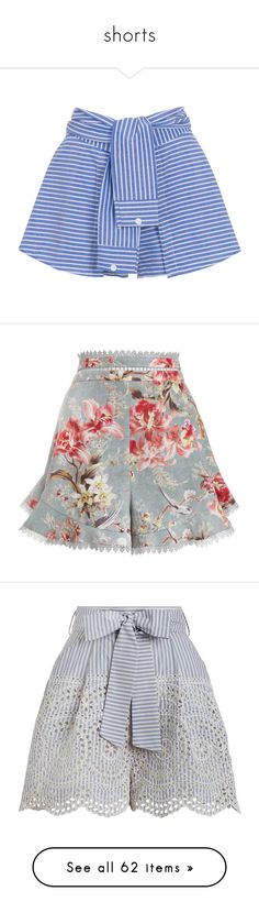 """""""shorts"""" by imnotyourstyle on Polyvore featuring shorts, skirts, bottoms, short, short culottes, blue shorts, stretch shorts, striped shorts, culottes shorts y pants"""