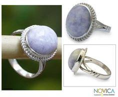 Novica Sterling Silver 'Eternal Love' Lavender Jade Cocktail Ring