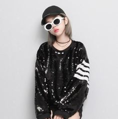 Womens Sequins Loose Tops Blouse Street Long Sleeve Round Collar Chic Hip-Hop U7