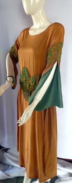 Stunnning 1920s Circa 1922 COPPER SILK DRESS with GLASS BEADING LARGE   eBay