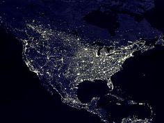 the US at night.