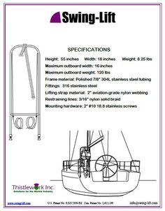 Outboard motor hoist and outboard motor harness for sailing yachts. Lifting Straps, Stainless Steel Tubing, Outboard Motors, Sailing, Boat, Deck, Candle, Dinghy, Stainless Steel Pipe