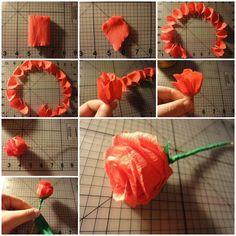 DIY Easy Crepe Paper Rose 1