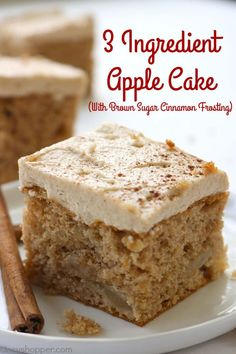 If you are a fan of simple recipes, you will want to make this Easy 3 Ingredient Apple Cake with Brown Sugar Cinnamon Frosting. All you will need is a spice cake mix, apple pie filling, and eggs. Enjoy as is, add on whipped topping or frosting. Apple Cake Recipes, Easy Cake Recipes, Cookie Recipes, Apple Cakes, Apple Pie Cake, Spice Cake Mix Recipes, Cake Mix And Pie Filling Recipe, Easy Apple Cake, Apple Recipes Easy