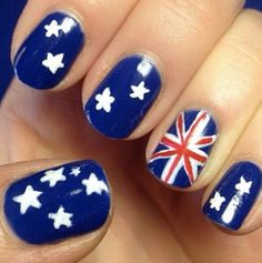 Australia Day nail art - I'm totally doing this next year! Garra, Hair And Nails, My Nails, Funky Nails, Heart Nails, Union Jack Nails, Australia Day Celebrations, Aus Day, Happy Australia Day
