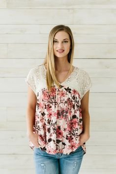 Floral Lace Blouse- Rose