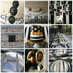 Kate Spade inspired dinner party, spots and stripes, black, white and gold, 40th birthday (By Stephanie Gasking)