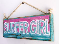 Custom Surfer Girl Beach Sign with Original Wave Design Personalized on Reclaimed Distressed Wood Coastal Surf Nursery Kids Room Decor on Etsy, $45.00