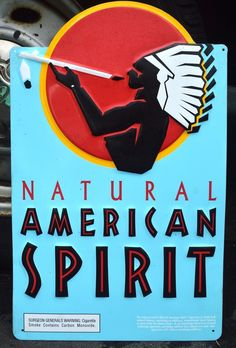 NATURAL AMERICAN SPIRIT TOBACCO SIGN-METAL STORE SIGN-CIGARETTE SIGN-INDIAN  #AmericanSpirit