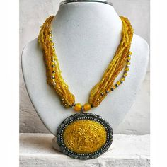 Yellow Bib Necklace/Statement Necklace/Beaded by FootSoles on Etsy, $23.90