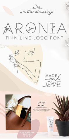 Aronia - Thin Line Logo Font Modern Fonts, Modern Logo, Branding Design, Logo Design, Graphic Design, Geometric Font, Commercial Use Fonts, Vintage Fonts, Thin Line