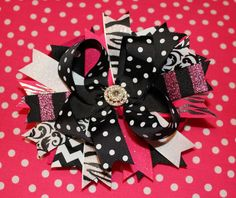 Pink Black & White Boutique Stacked Hair Bow by BellaKumariBows, $13.00