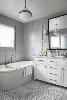 Vanity and tub close together