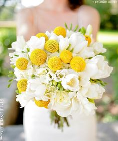 Beautiful Wedding Bouquet: White Hydrangea, White Freesia, White Tulips, White Roses + Yellow Craspedia (Billy Balls, Billy Buttons)