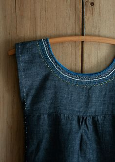 love the embroidery details here -- could do on some of my own clothes to freshen the look... Molly's Sketchbook: Embroidered Denim Jumper - Knitting Crochet Sewing Crafts Patterns and Ideas! - the purl bee