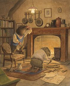 Mole and ratty clean and prepare mole's forgotten house. Ratty builds a fire in…