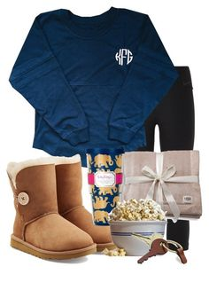 """movie night w the bae"" by sofiaestrada ❤ liked on Polyvore featuring moda, NIKE, UGG Australia, Lilly Pulitzer, Waring y Crate and Barrel"