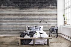 Buy the Worn Wood Wall Panel from the Rebel Walls Curious Collection, with weathered pine boards in grey and dark blue. Brick Wallpaper Tiles, Wallpaper Designs For Walls, Modern Wallpaper, Bedroom Wallpaper, Wallpaper Paste, Photo Wallpaper, Designer Wallpaper, Magazine Deco, Bedroom Wall Designs