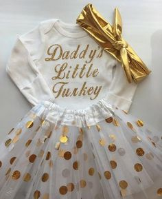 BABY girl Thanksgiving outfit- Baby Girl Fall Outfit - Daddy\'s Little Turkey- Baby girl photo outfit - thanksgiving baby tutu- Newborn-5T