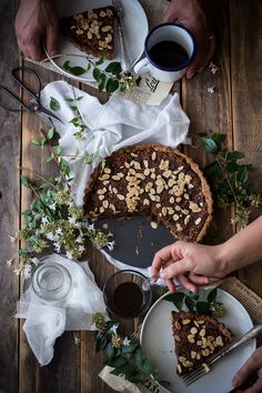 Chocolate Tart with Coconut Filling & Almonds: By Stawberry Fields Forever