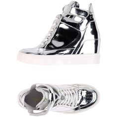 Cafènoir High-tops & Trainers (€105) ❤ liked on Polyvore featuring shoes, sneakers, silver, high top sneakers, velcro high-top sneakers, velcro high tops, round cap and velcro strap sneakers