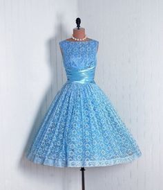 Couture Cocktail Dress: 1950's, shimmer satin and floral-print lace.