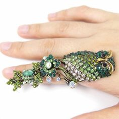 COWGIRL GYPSY RING Teal N Green Swarovski Crystal Long Owl & Flower